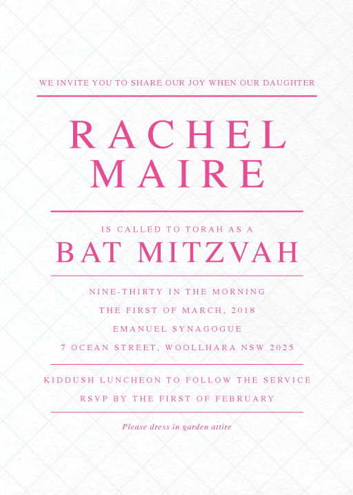 Cross Hatch - Bar Bat Mitzvah Invitations