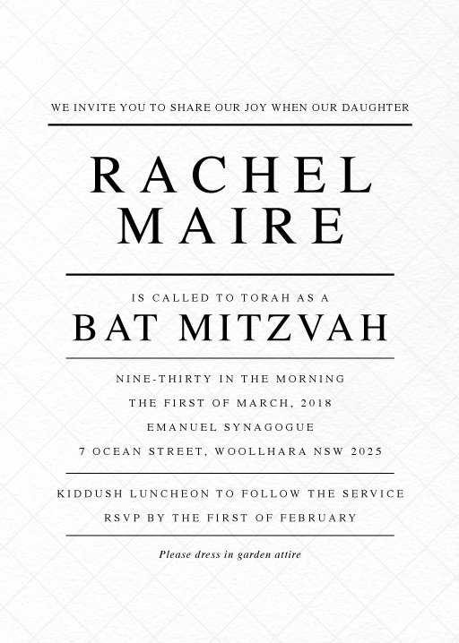 Cross Hatch - bar & bat mitzvah invitations