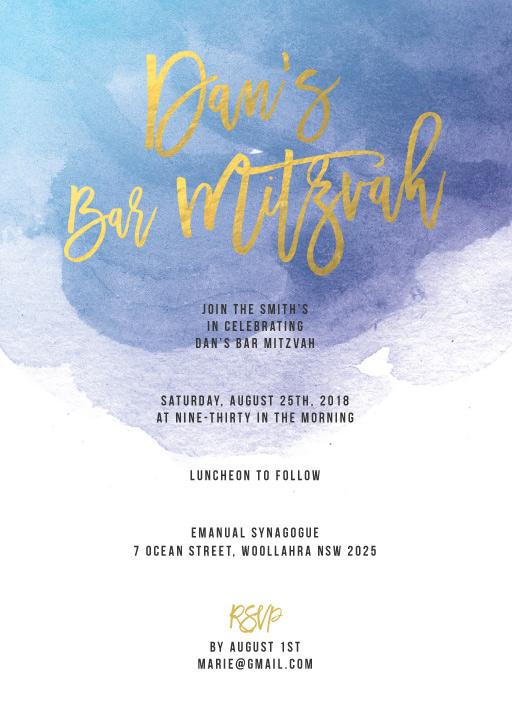 Aquarelle - Bar Bat Mitzvah Invitations
