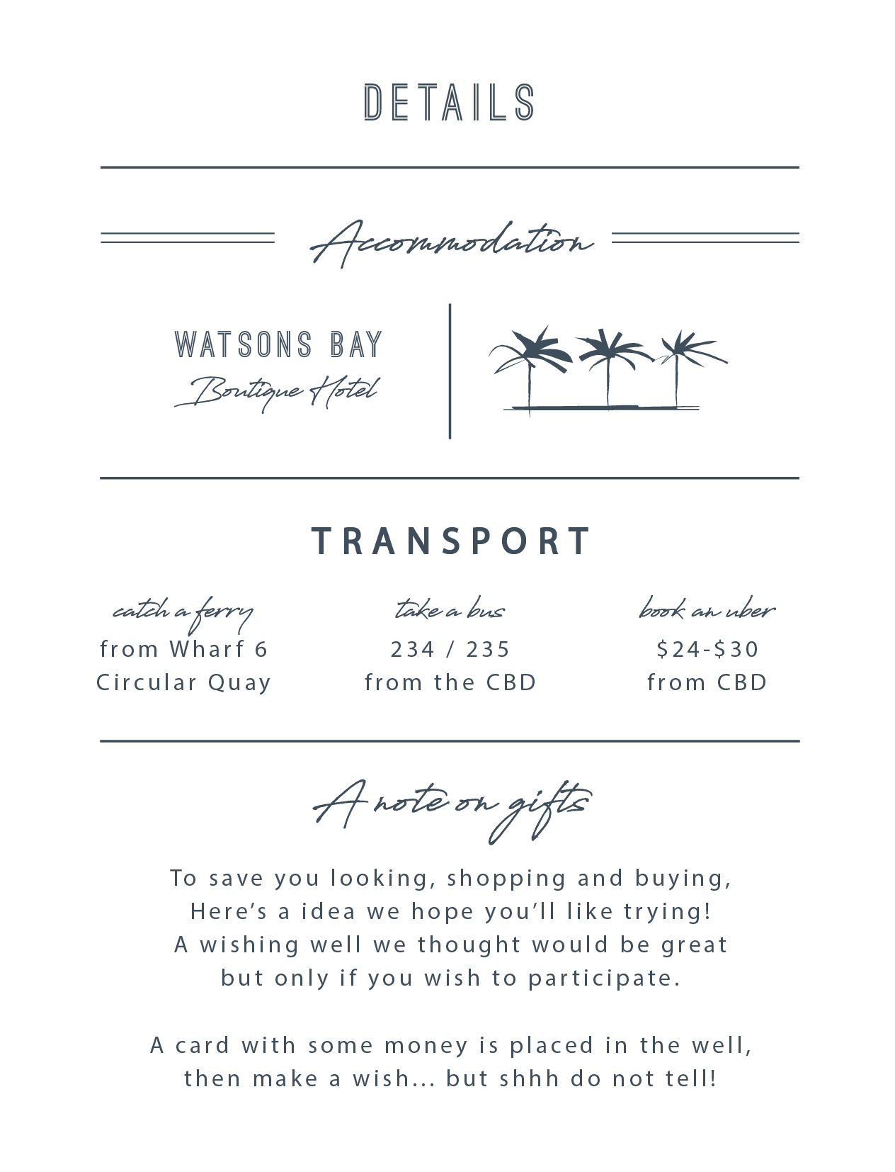 Watsons Bay Hotel | DP | Information Cards