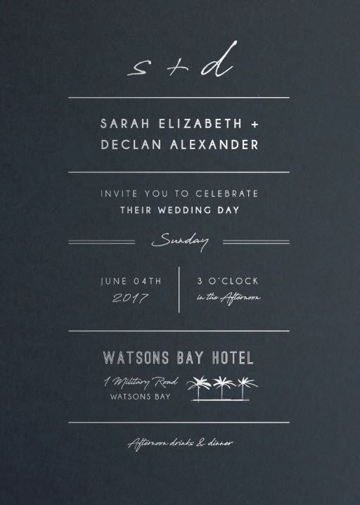 Watsons Bay Hotel - Wedding Invitations