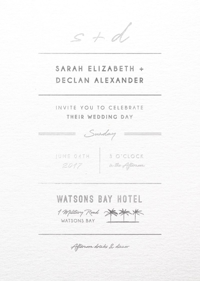 Watsons Bay Hotel | Real Foil | Wedding Invitations