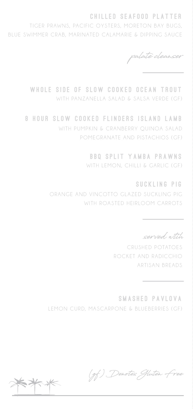 Watsons Bay Hotel | Real Foil | Wedding Menu