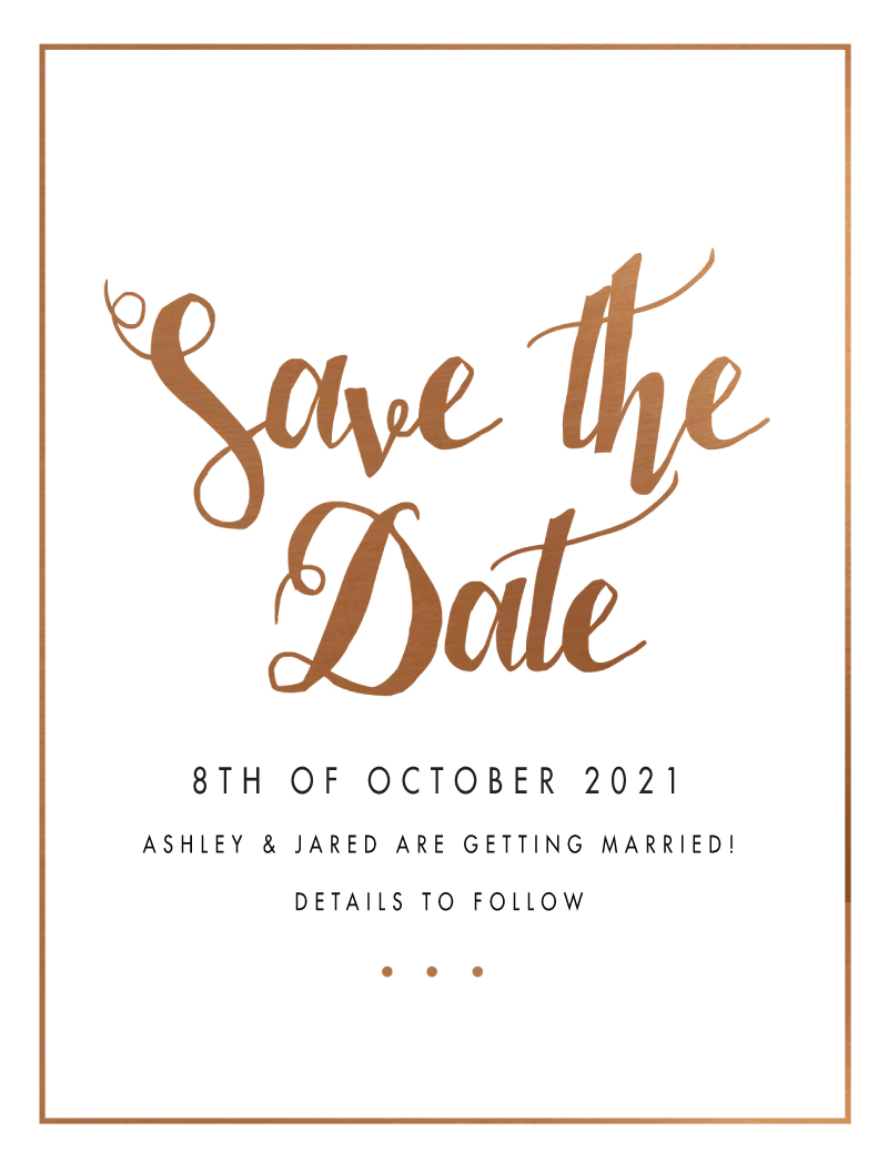 Spring Collection Save The Date Arrow Left Front