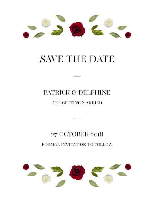 Delphine Rouge - Save The Date Flower Banner
