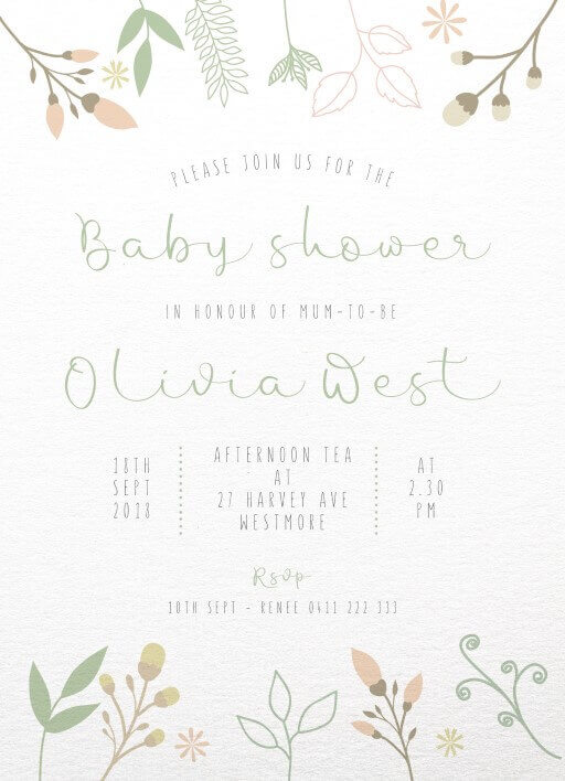 Flower Buds - Baby Shower Invitations