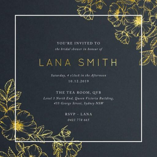 Floral Border - Bridal Shower Invitations