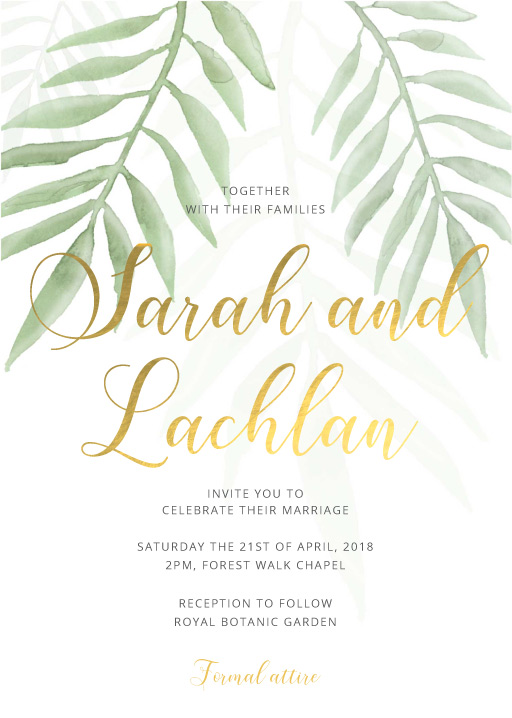 Forest Walk Metallic Wedding Invitations