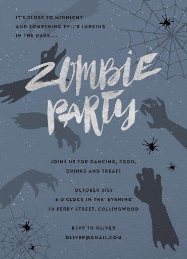 Zombie Party - kids halloween invitations