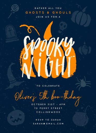 Spooky Night - kids halloween invitations