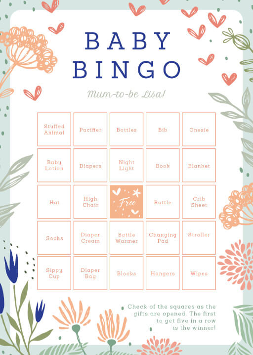 Floral Bingo - baby shower games