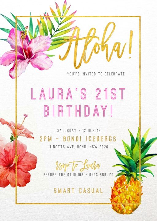Aloha - Birthday Invitations