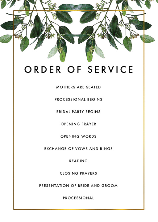 Garden Estate - Order Of Service