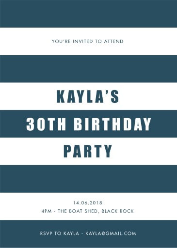 Port Dickson - Birthday Invitations