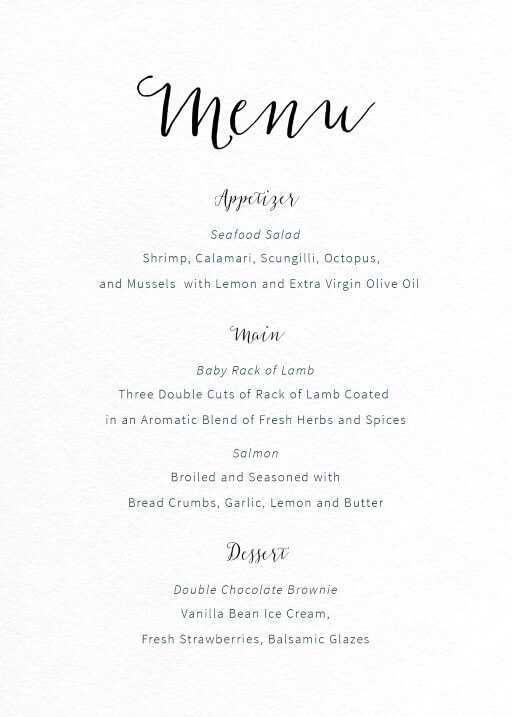 Rustic  Digital Printing  Wedding Menu
