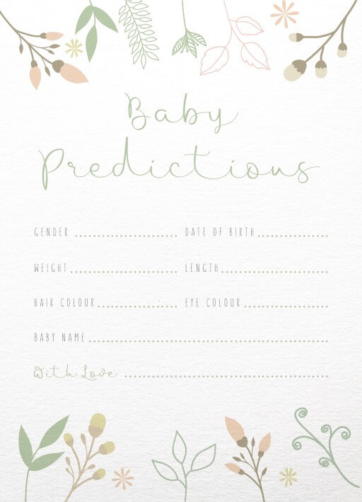 Baby Predictions Real Foil Baby Shower Games