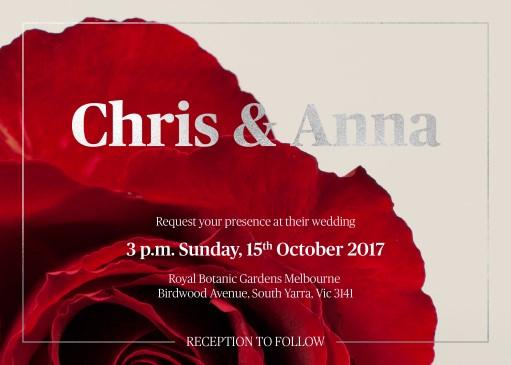 Red Roses - Wedding Invitations