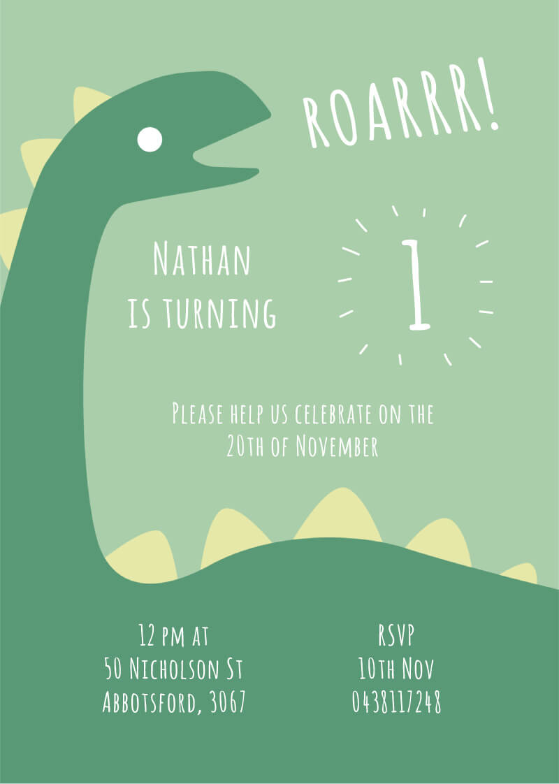 Dino First Dinosaur Birthday Invitation