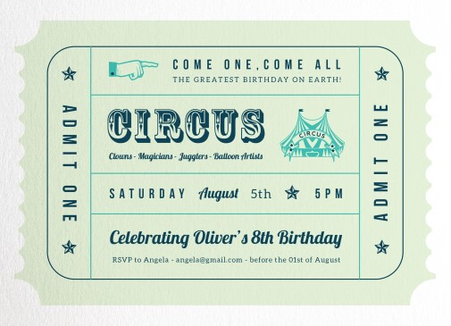 Circus - Birthday Invitations