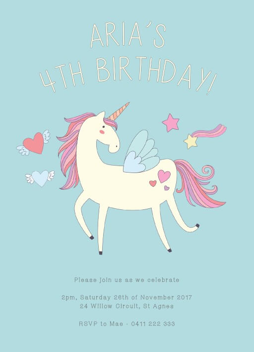 Me and my Unicorn - Birthday Invitations