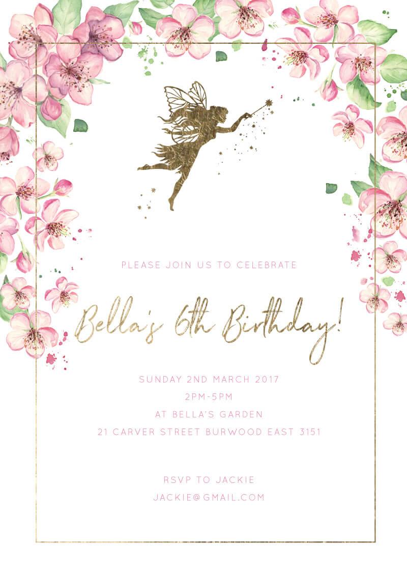 Fairy Garden Birthday Invitations Arrow Left Front
