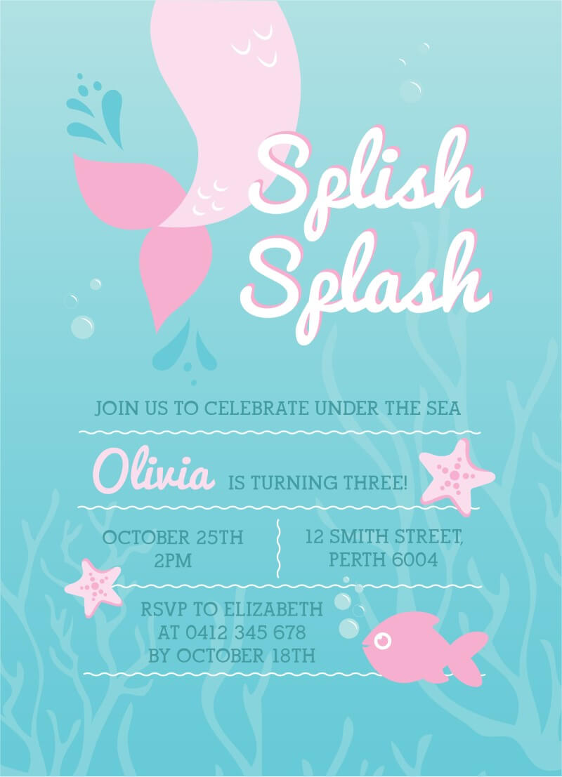 Splish Splash Mermaid Invitation