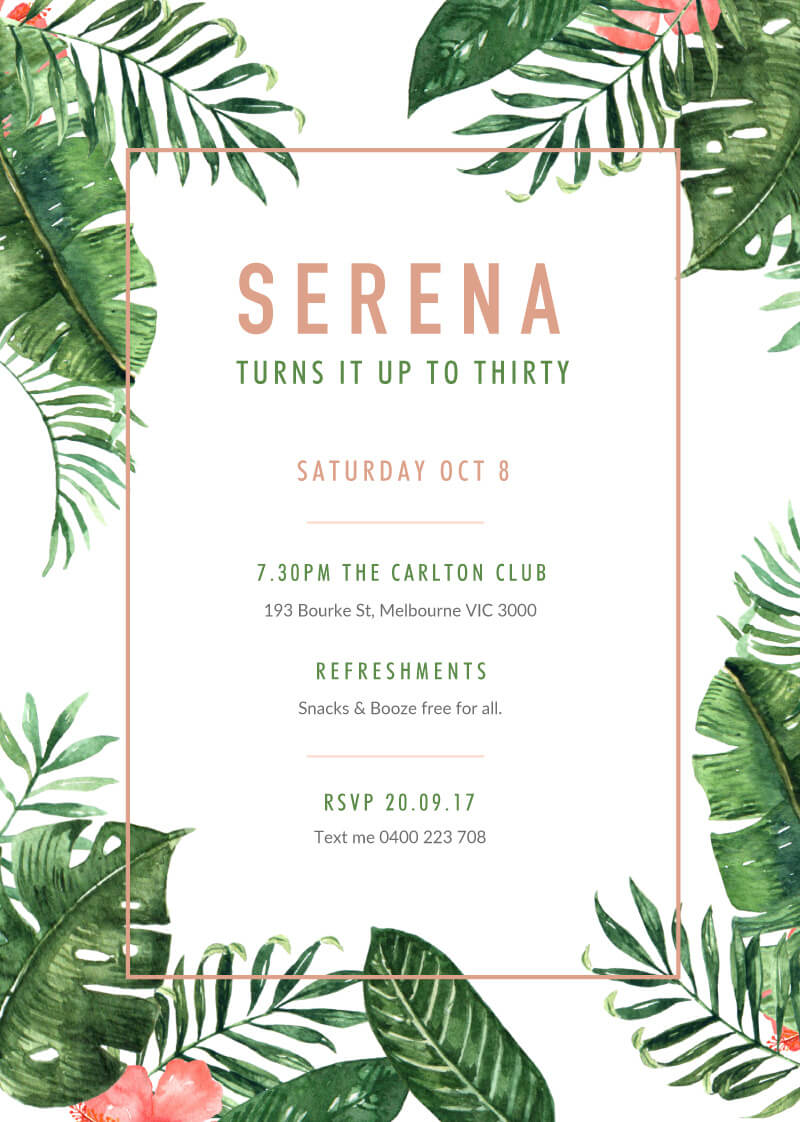 party in the tropics tr dp birthday invitations