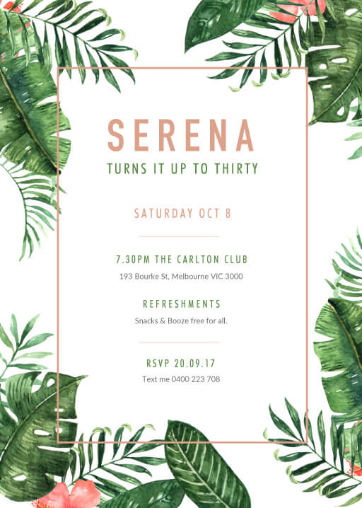 Party In The Tropics Tropical Birthday Invitation