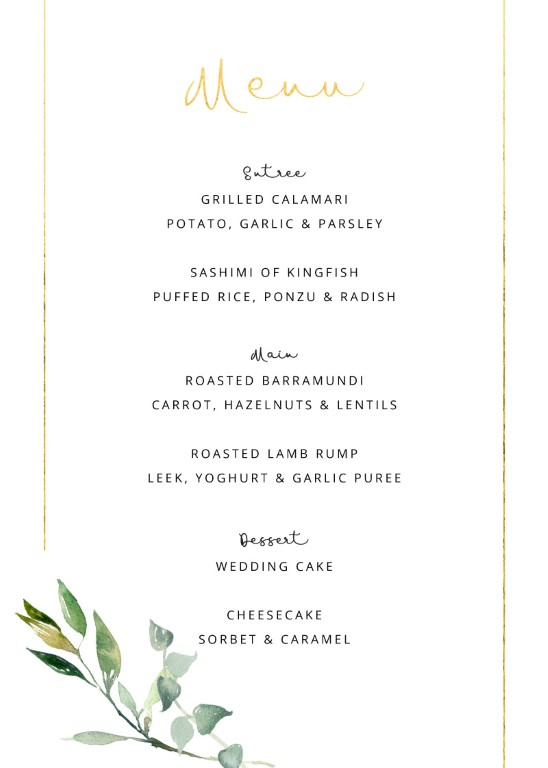 Garden Window - Menu