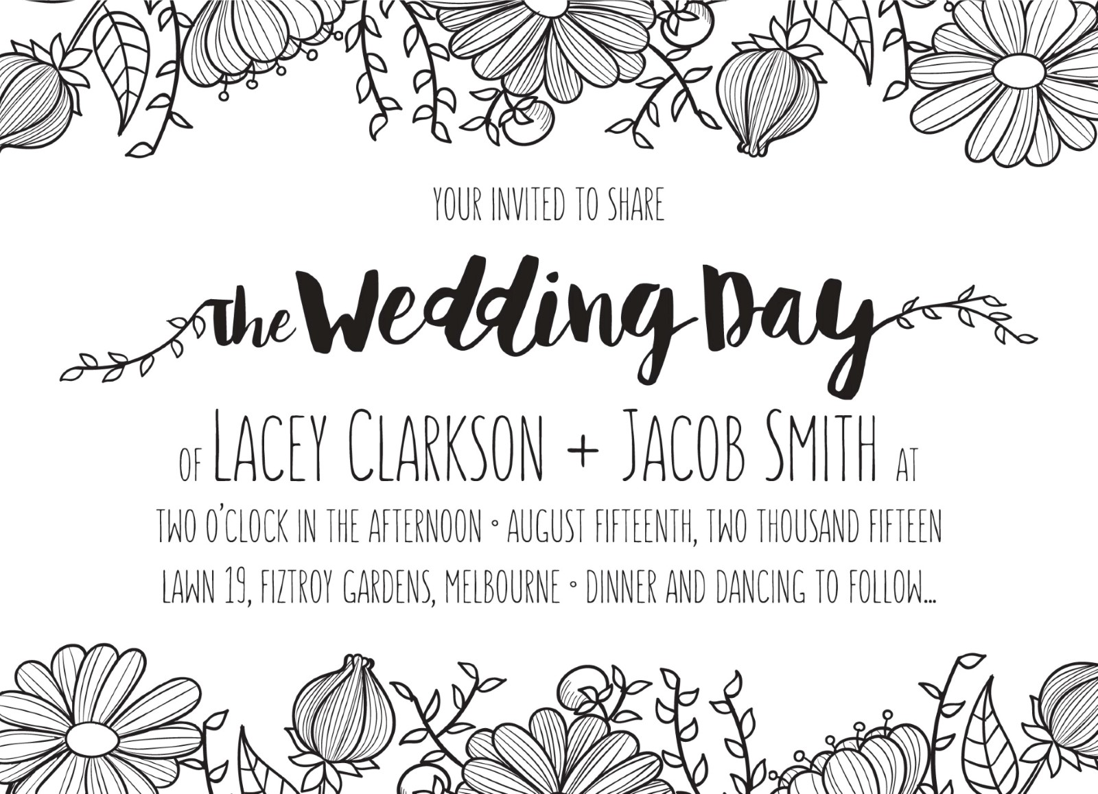 Daisy chain digital printing wedding invitations front stopboris Gallery
