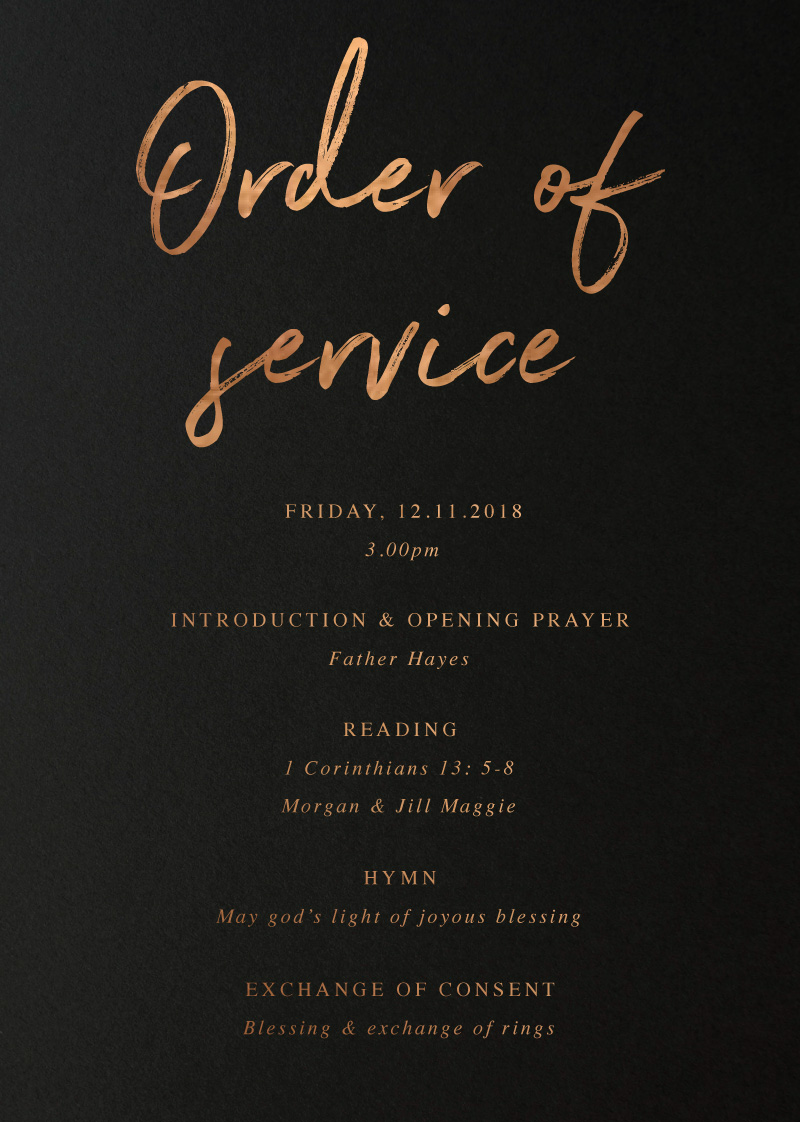 Moira Hughes Couture - Order Of Service