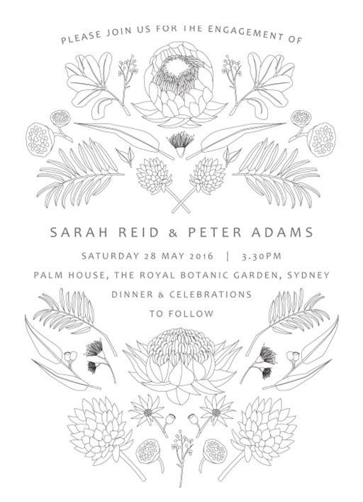 Australian Native Colour In - engagement invitations