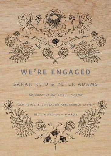 Australian Native Colour-In - Engagement Invitations