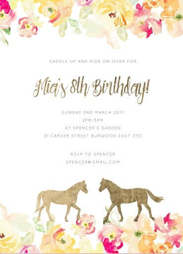 Saddle - Birthday Invitations