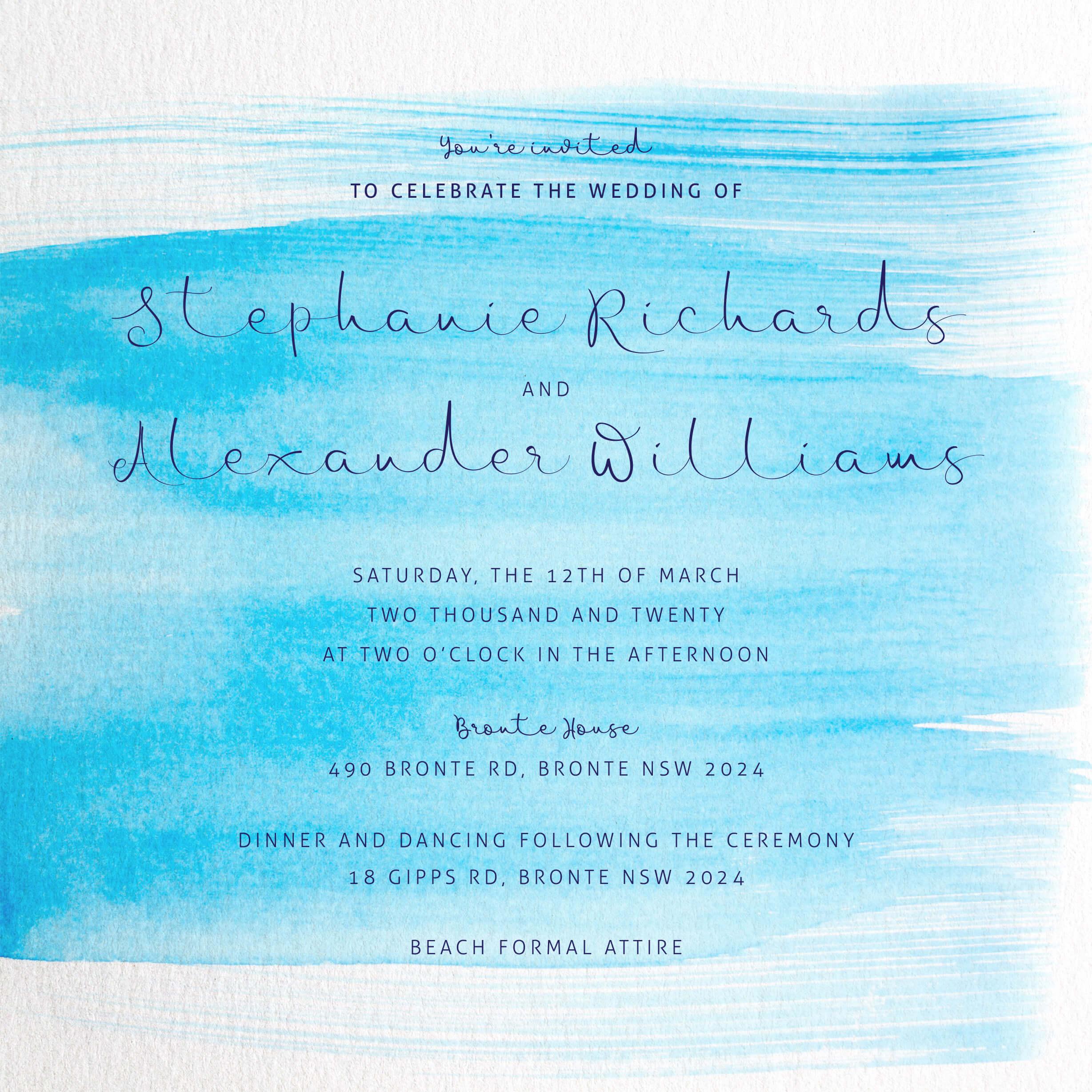 Water Wedding Invitations Arrow Left Front