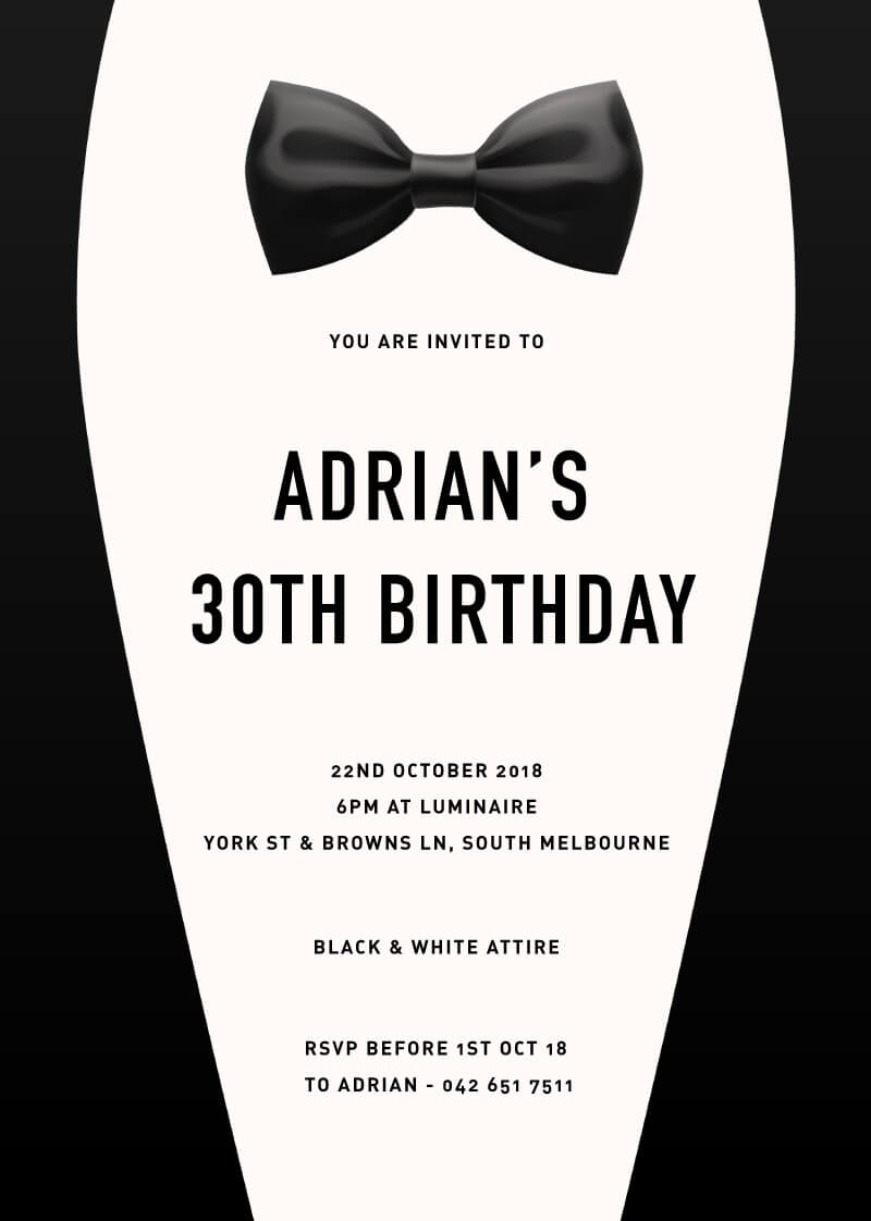 Bow tie digital printing birthday invitations bow tie birthday invitations arrow left front filmwisefo