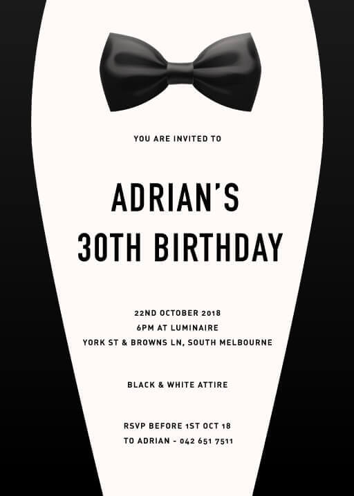 Bow Tie - Birthday Invitations