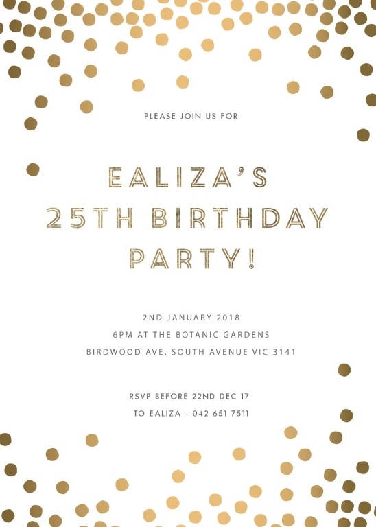 Golden Ball - Birthday Invitations