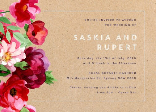 Rustic Red Flowers - Wedding Invitations