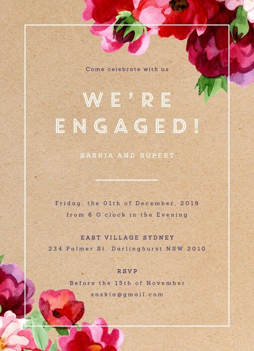 Rustic Red Flowers White Ink Engagement Invitations