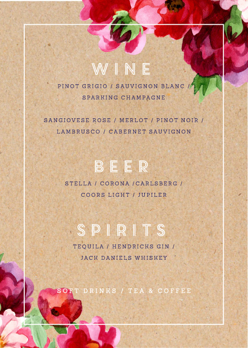 Rustic Red Flowers - Menu