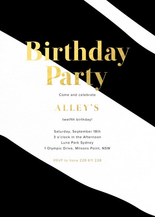 Straight and Wavy - Birthday Invitations
