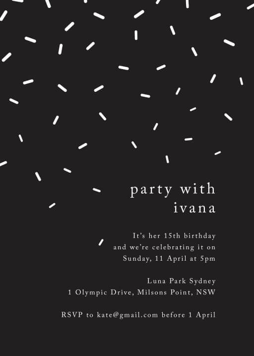White Sprinkles - Birthday Invitations