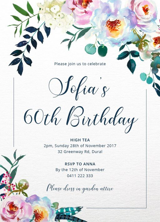 floral bouquet birthday invitations