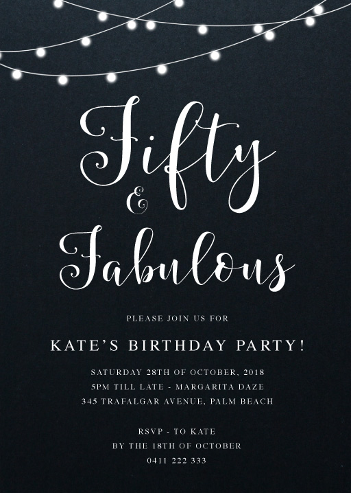 Fifty and Fab - Birthday Invitations