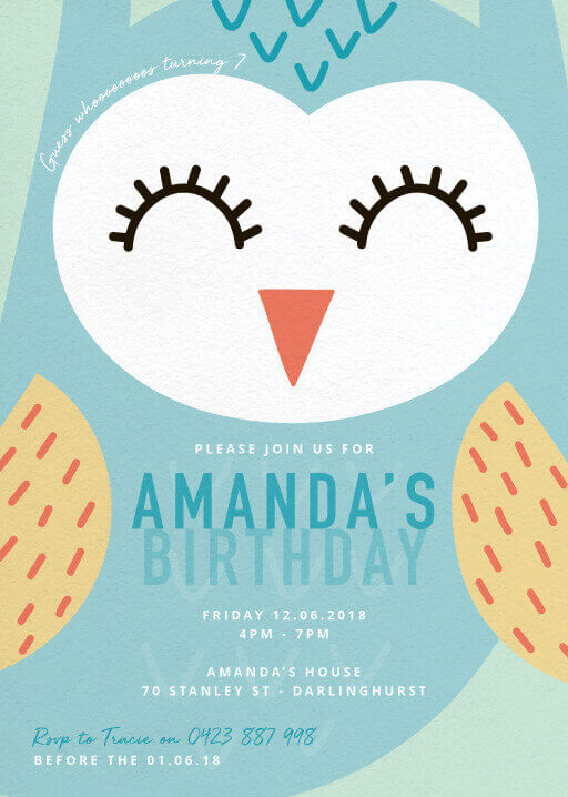 Guess whooooo - Birthday Invitations