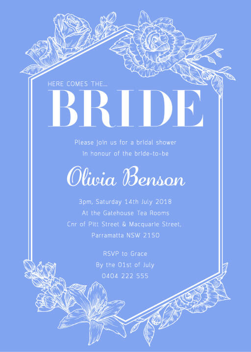 Floral Contemporary Bride - Bridal Shower Invitations