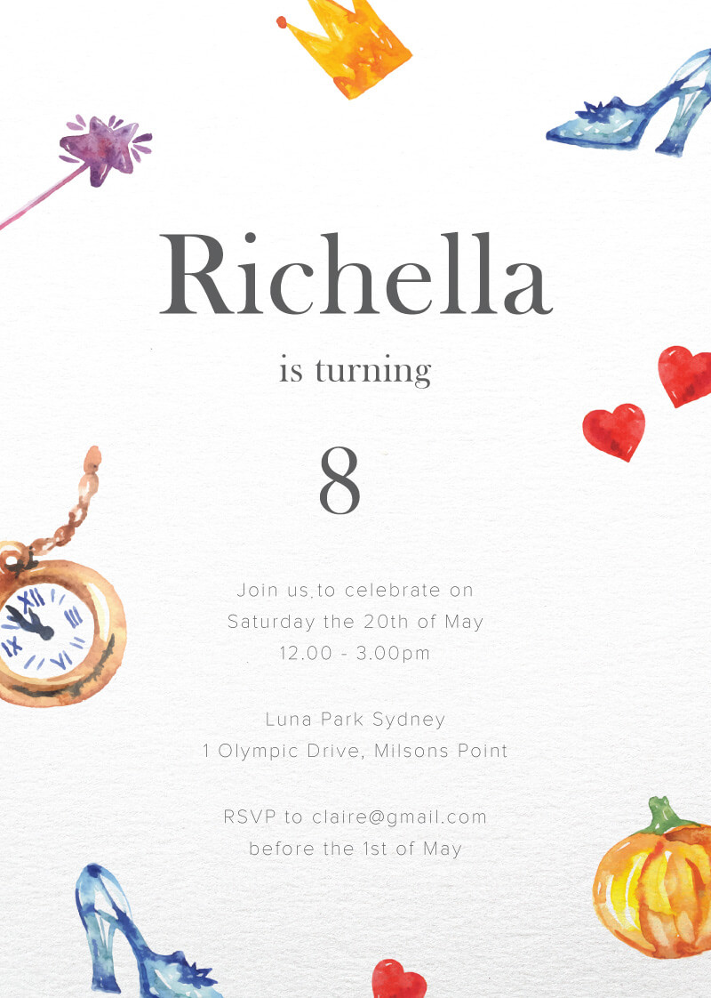 A Cinderella Stories | DP | Birthday Invitations