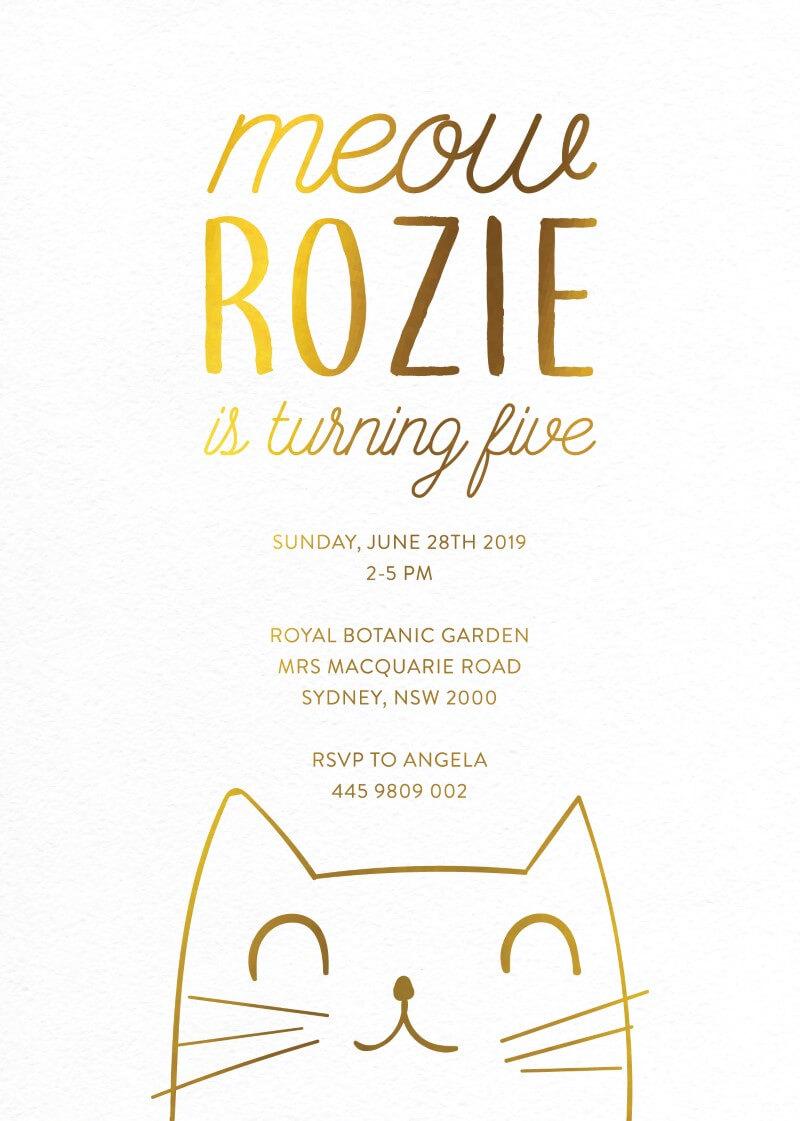 Meowww real foil birthday invitations front stopboris Gallery