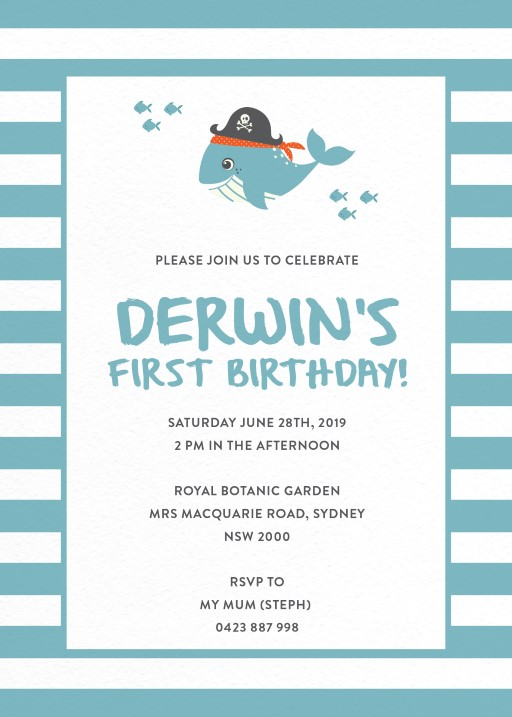 King of the Sea - Birthday Invitations